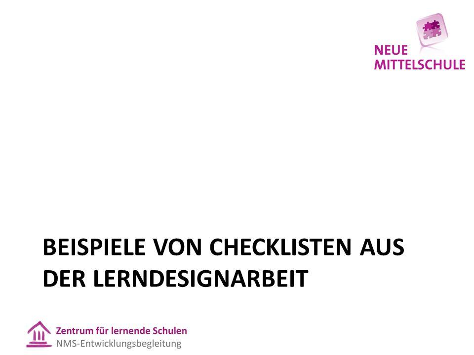 Beispiele von Checklisten aus der Lerndesignarbeit