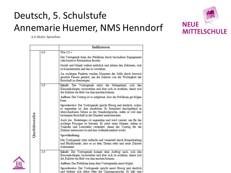 Deutsch, 5. Schulstufe Annemarie Huemer, NMS Henndorf