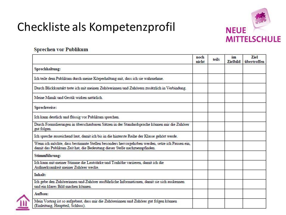 Checkliste als Kompetenzprofil