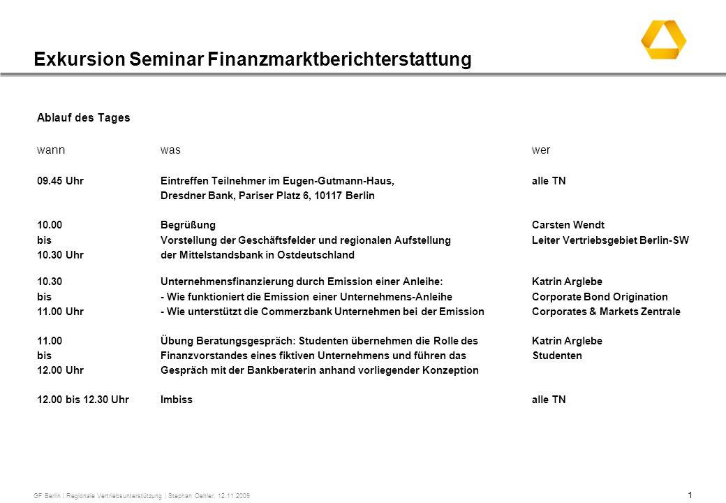Exkursion Seminar Finanzmarktberichterstattung