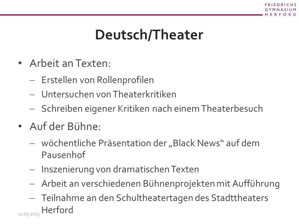 Deutsch/Theater Arbeit an Texten: Auf der Bühne: