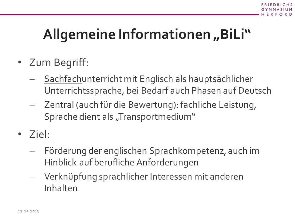 """Allgemeine Informationen """"BiLi"""