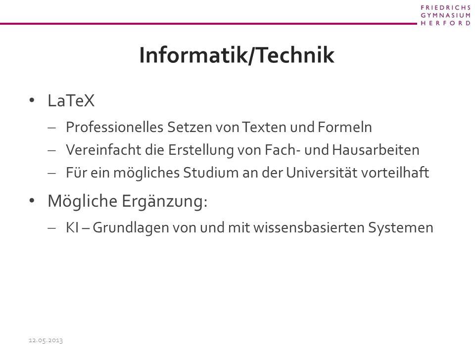 Informatik/Technik LaTeX Mögliche Ergänzung: