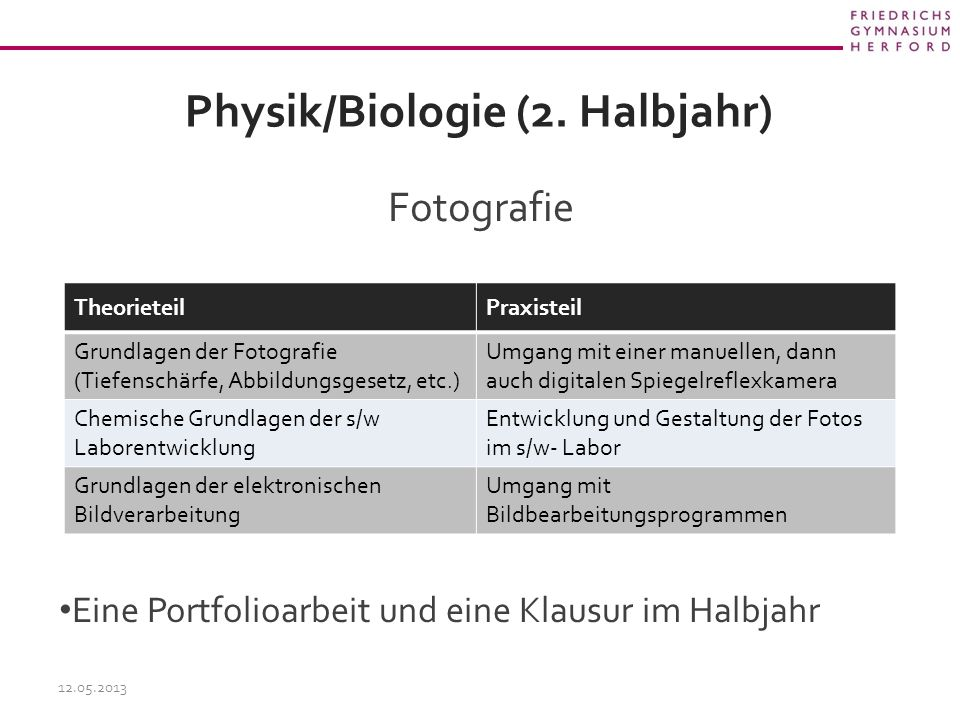 Physik/Biologie (2. Halbjahr)