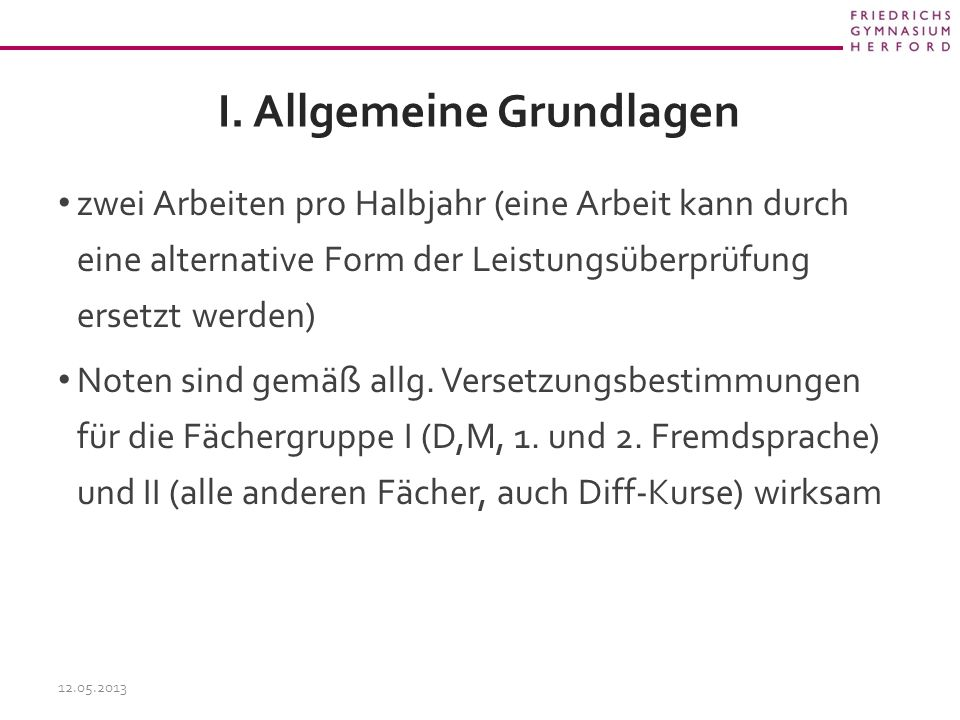 I. Allgemeine Grundlagen