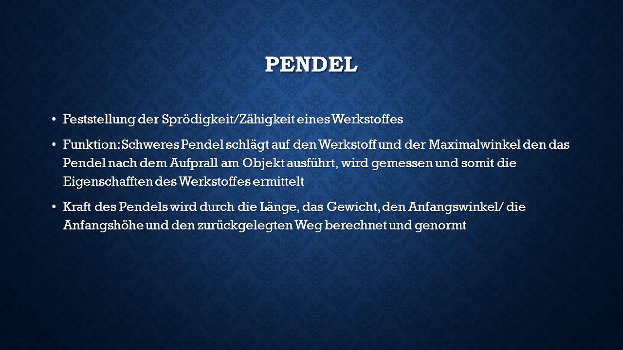 Pendel Feststellung der Sprödigkeit/Zähigkeit eines Werkstoffes