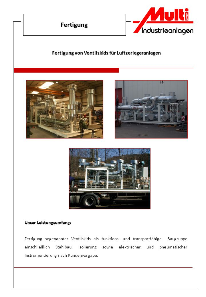 Fertigung von Ventilskids für Luftzerlegeranlagen