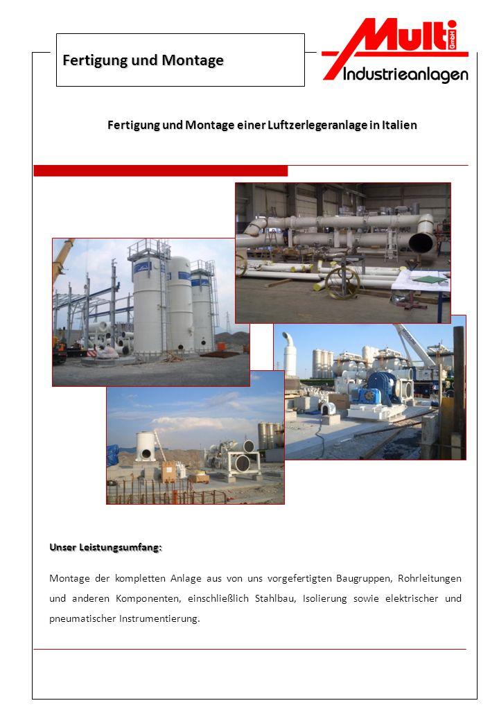 Fertigung und Montage einer Luftzerlegeranlage in Italien