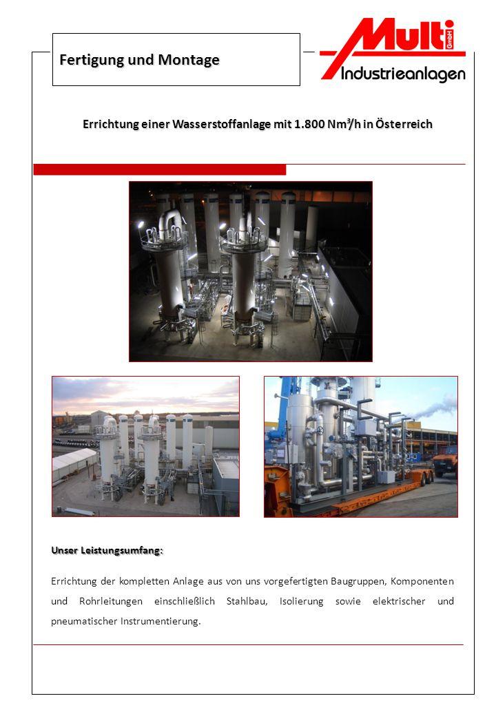 Errichtung einer Wasserstoffanlage mit 1.800 Nm³/h in Österreich