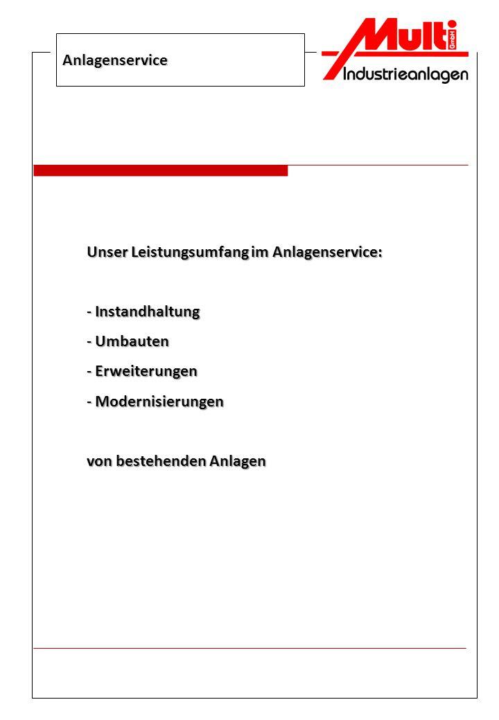 Anlagenservice Unser Leistungsumfang im Anlagenservice: Instandhaltung. Umbauten. Erweiterungen.