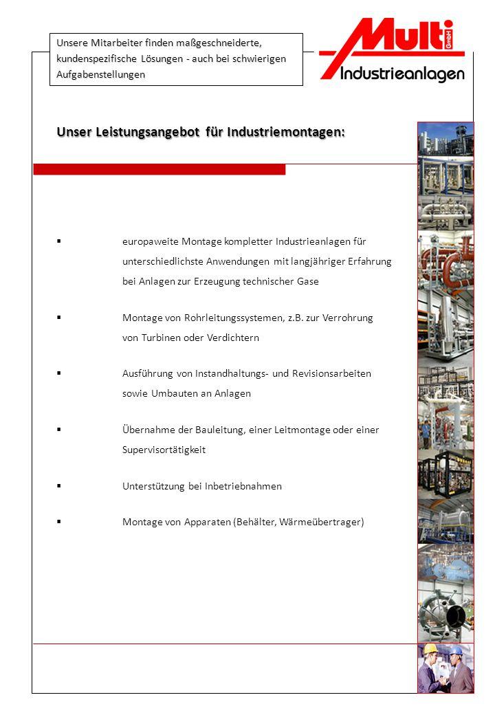 Unser Leistungsangebot für Industriemontagen: