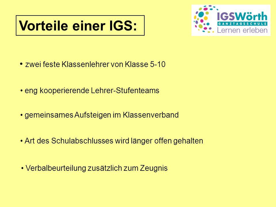 Vorteile einer IGS: zwei feste Klassenlehrer von Klasse 5-10