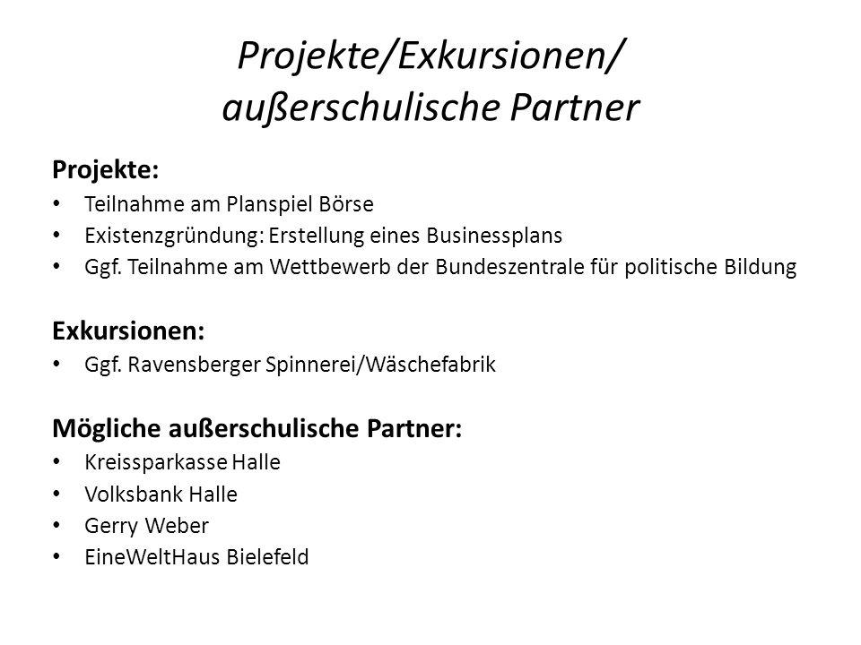 Projekte/Exkursionen/ außerschulische Partner