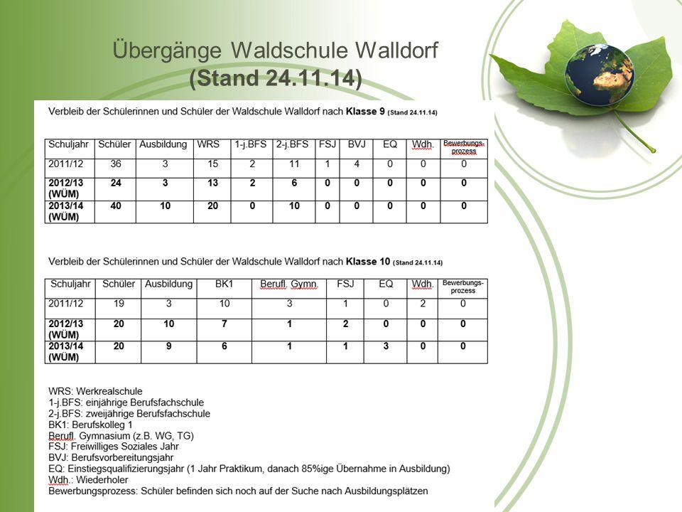 Übergänge Waldschule Walldorf (Stand 24.11.14)