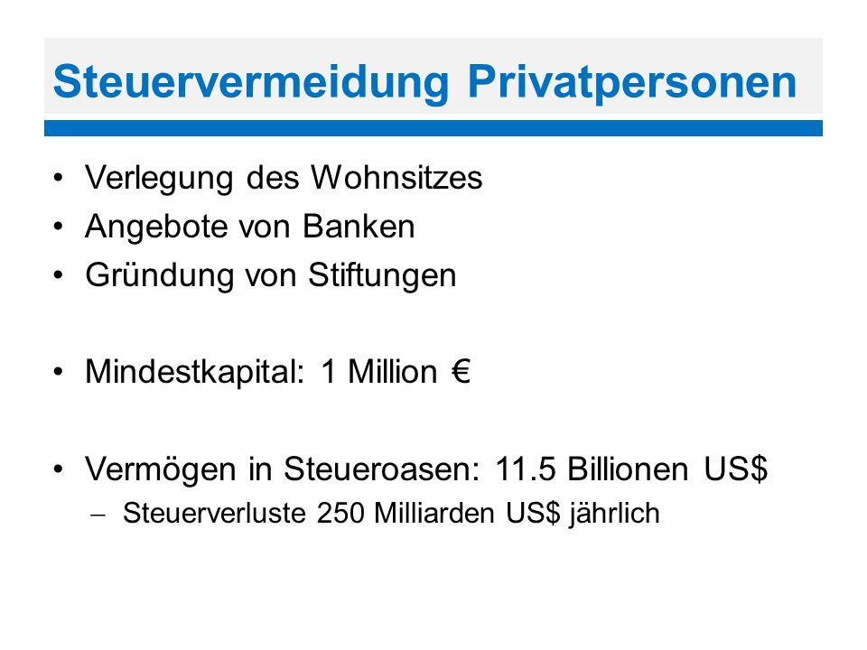 Steuervermeidung Privatpersonen