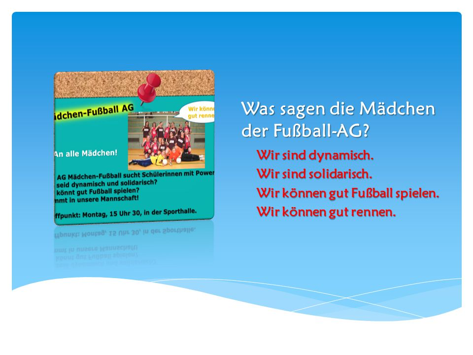 Was sagen die Mädchen der Fußball-AG