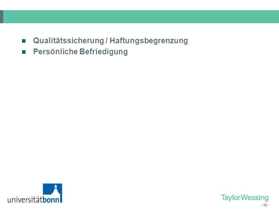 Qualitätssicherung / Haftungsbegrenzung