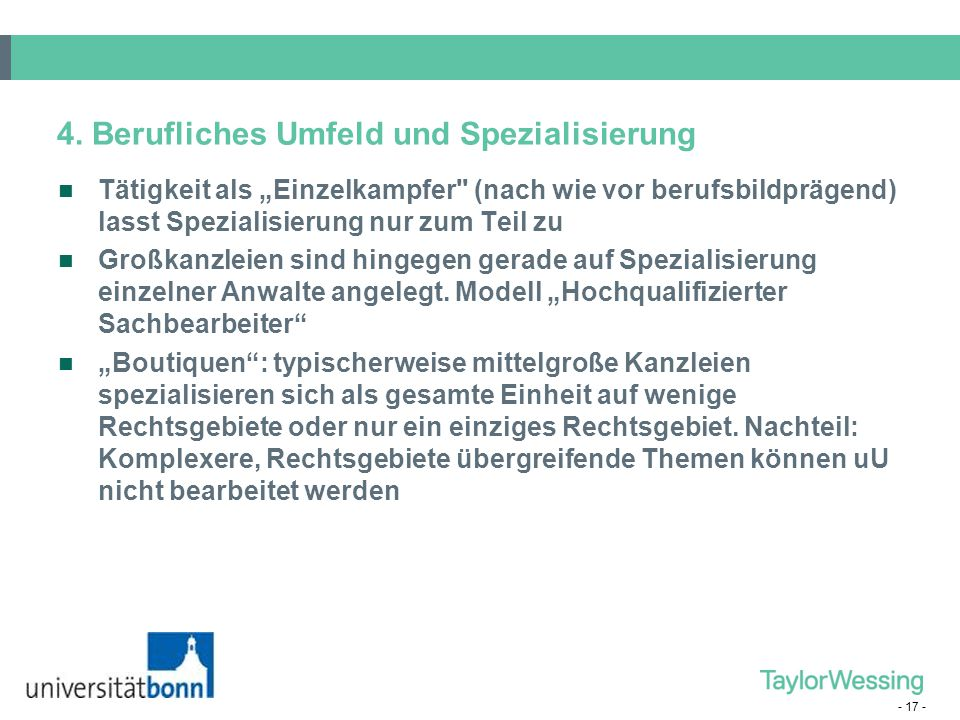 4. Berufliches Umfeld und Spezialisierung