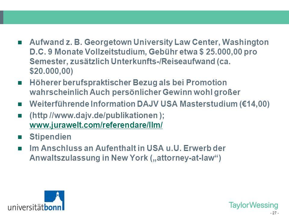 Aufwand z. B. Georgetown University Law Center, Washington D. C