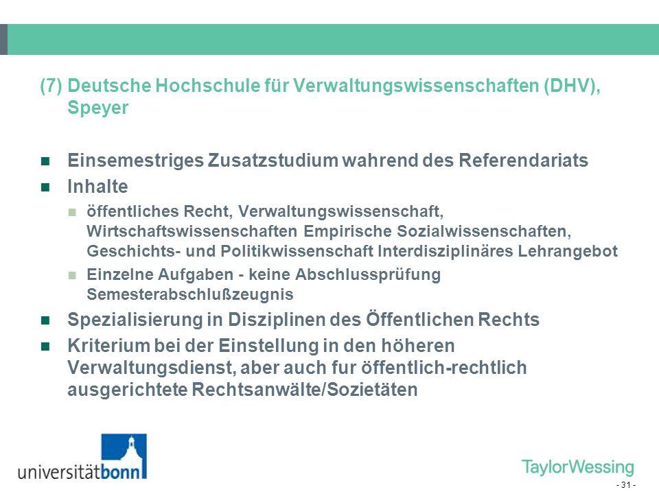 (7) Deutsche Hochschule für Verwaltungswissenschaften (DHV), Speyer