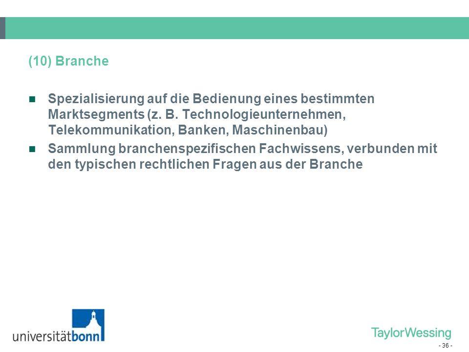 (10) Branche Spezialisierung auf die Bedienung eines bestimmten Marktsegments (z. B. Technologieunternehmen, Telekommunikation, Banken, Maschinenbau)