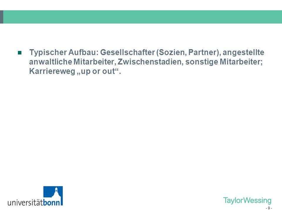 """Typischer Aufbau: Gesellschafter (Sozien, Partner), angestellte anwaltliche Mitarbeiter, Zwischenstadien, sonstige Mitarbeiter; Karriereweg """"up or out ."""
