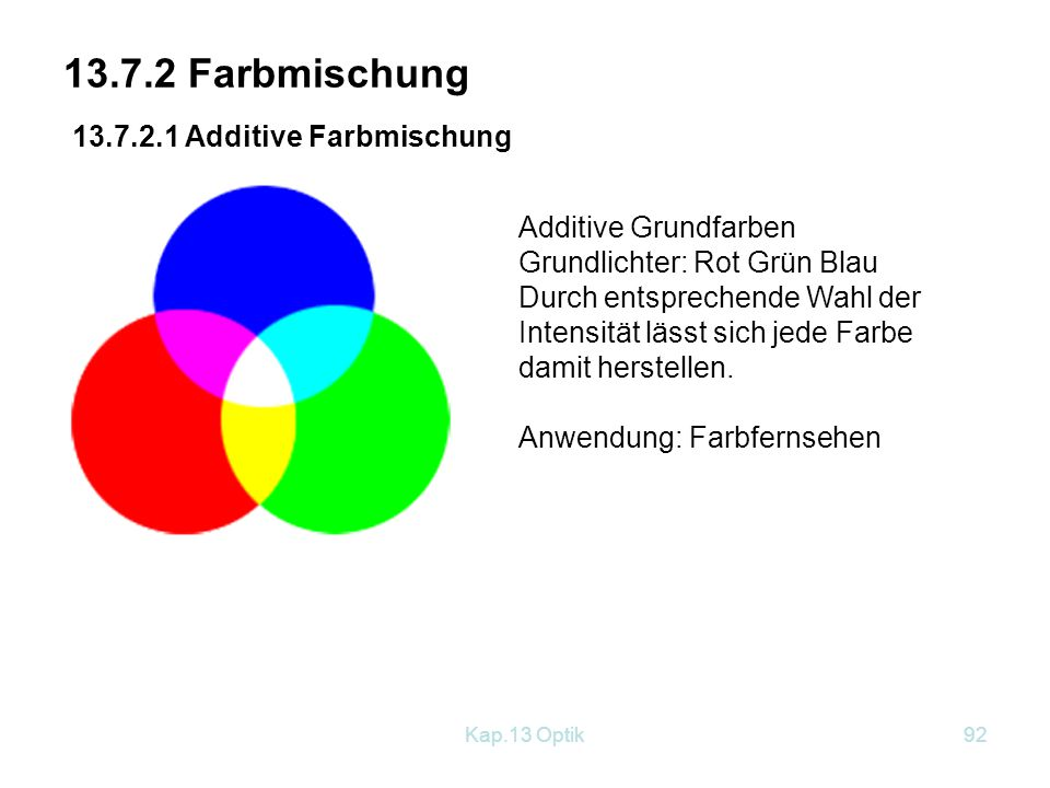 13.7.2 Farbmischung 13.7.2.1 Additive Farbmischung