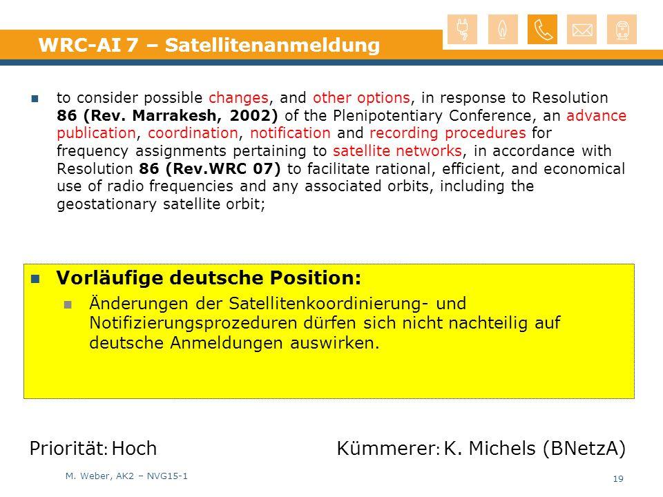 WRC-AI 7 – Satellitenanmeldung