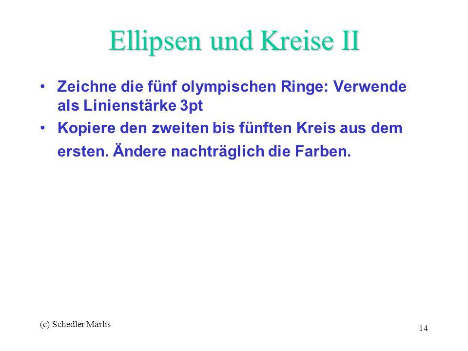 Ellipsen und Kreise II Zeichne die fünf olympischen Ringe: Verwende als Linienstärke 3pt.
