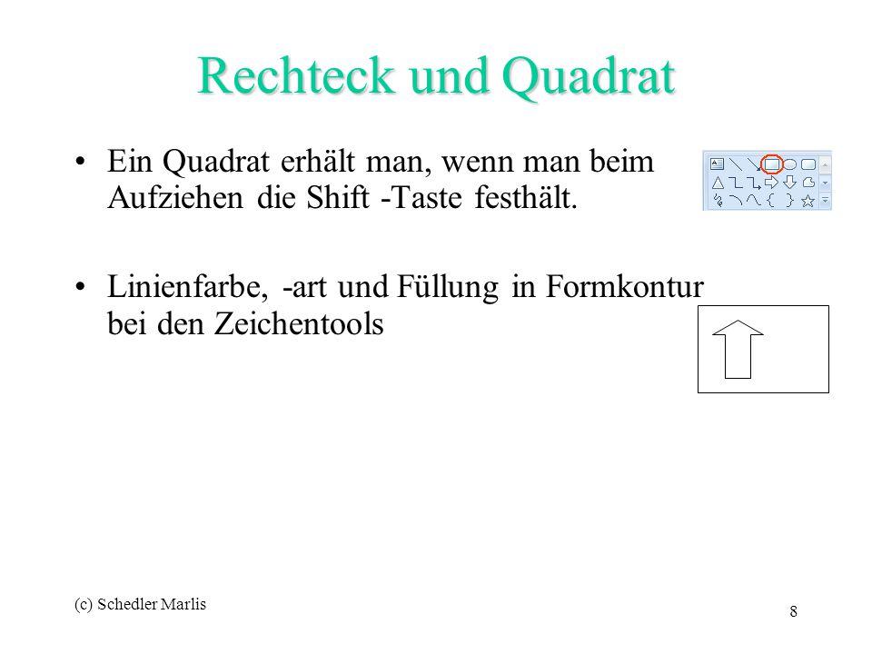 Rechteck und Quadrat Ein Quadrat erhält man, wenn man beim Aufziehen die Shift -Taste festhält.