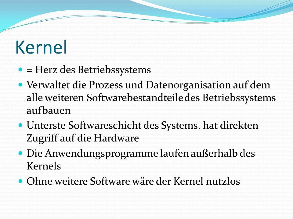 Kernel = Herz des Betriebssystems