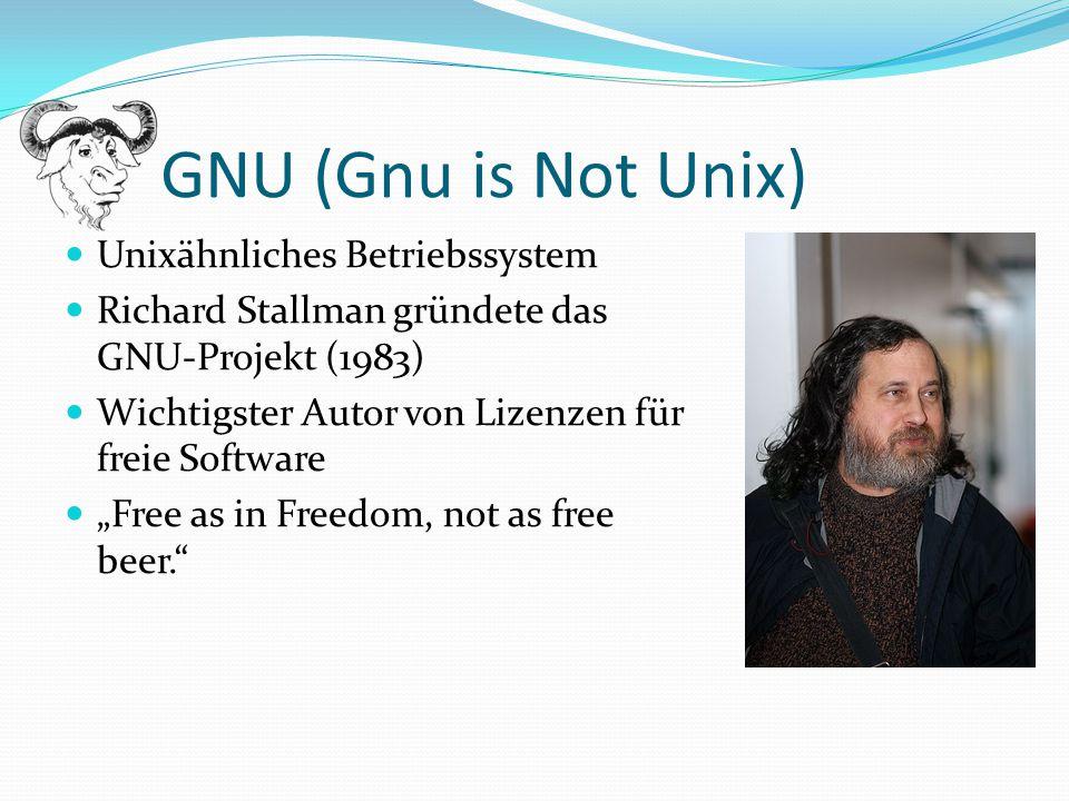 GNU (Gnu is Not Unix) Unixähnliches Betriebssystem