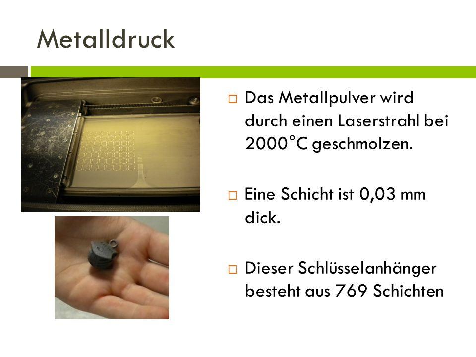 Metalldruck Das Metallpulver wird durch einen Laserstrahl bei 2000°C geschmolzen. Eine Schicht ist 0,03 mm dick.