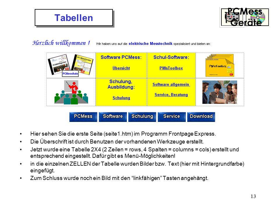 Tabellen Hier sehen Sie die erste Seite (seite1.htm) im Programm Frontpage Express.