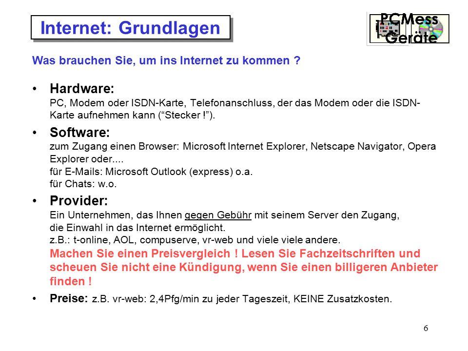 Internet: Grundlagen Was brauchen Sie, um ins Internet zu kommen