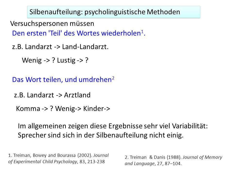 Silbenaufteilung: psycholinguistische Methoden
