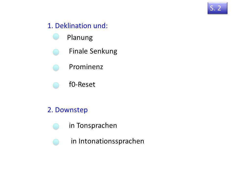 S. 2 1. Deklination und: Planung. Finale Senkung. Prominenz. f0-Reset. 2. Downstep. in Tonsprachen.