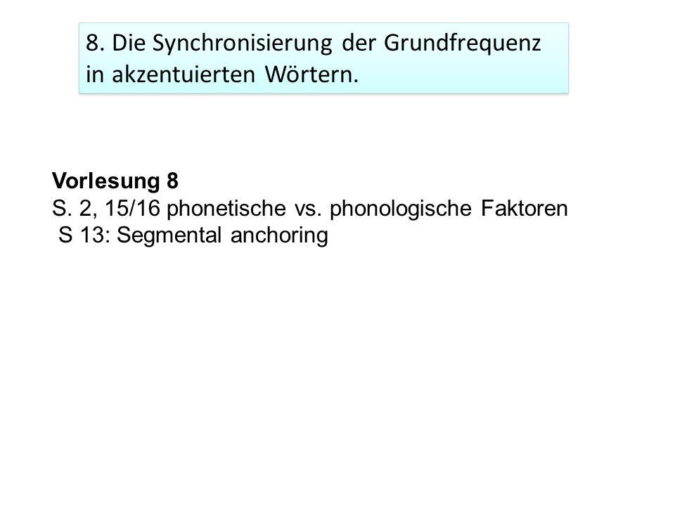 8. Die Synchronisierung der Grundfrequenz in akzentuierten Wörtern.