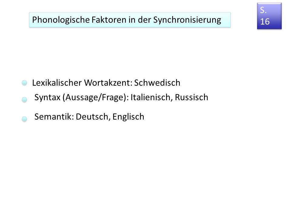 S. 16 Phonologische Faktoren in der Synchronisierung. Lexikalischer Wortakzent: Schwedisch. Syntax (Aussage/Frage): Italienisch, Russisch.