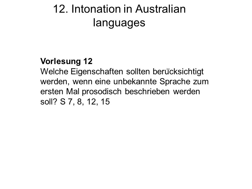 12. Intonation in Australian languages