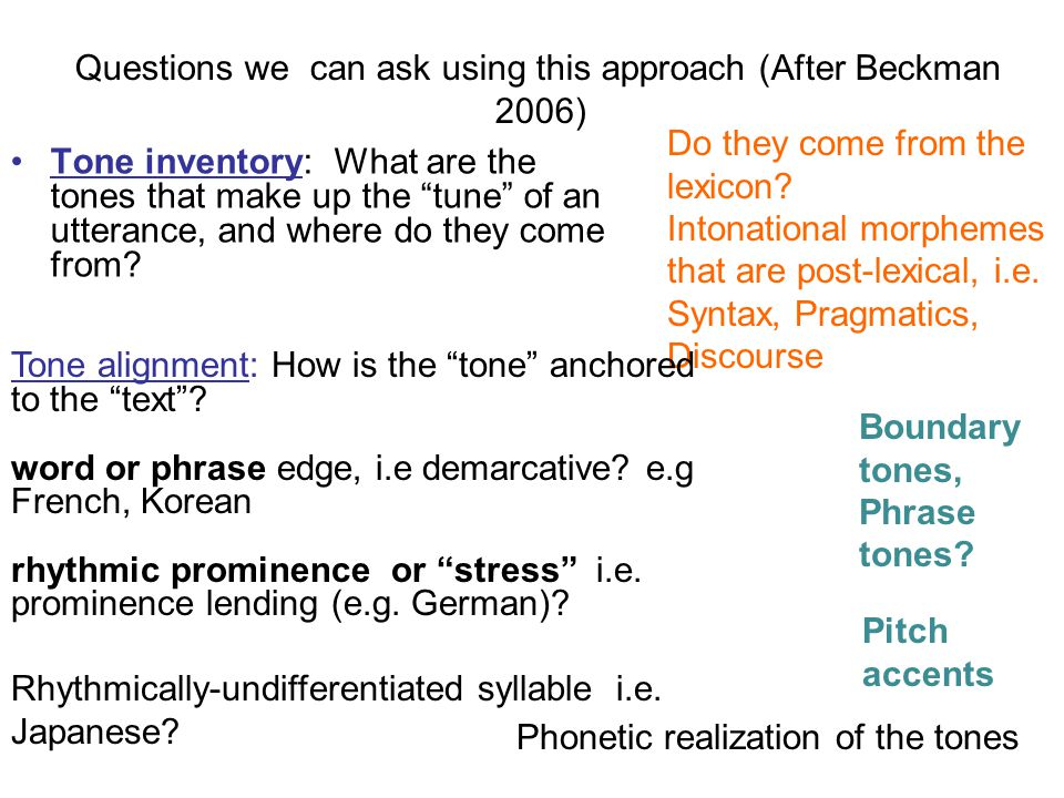 Questions we can ask using this approach (After Beckman 2006)