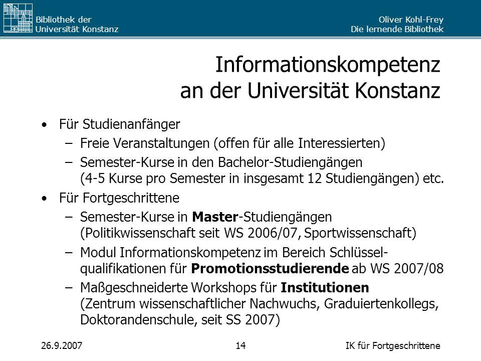 Informationskompetenz an der Universität Konstanz