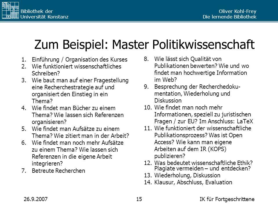 Zum Beispiel: Master Politikwissenschaft