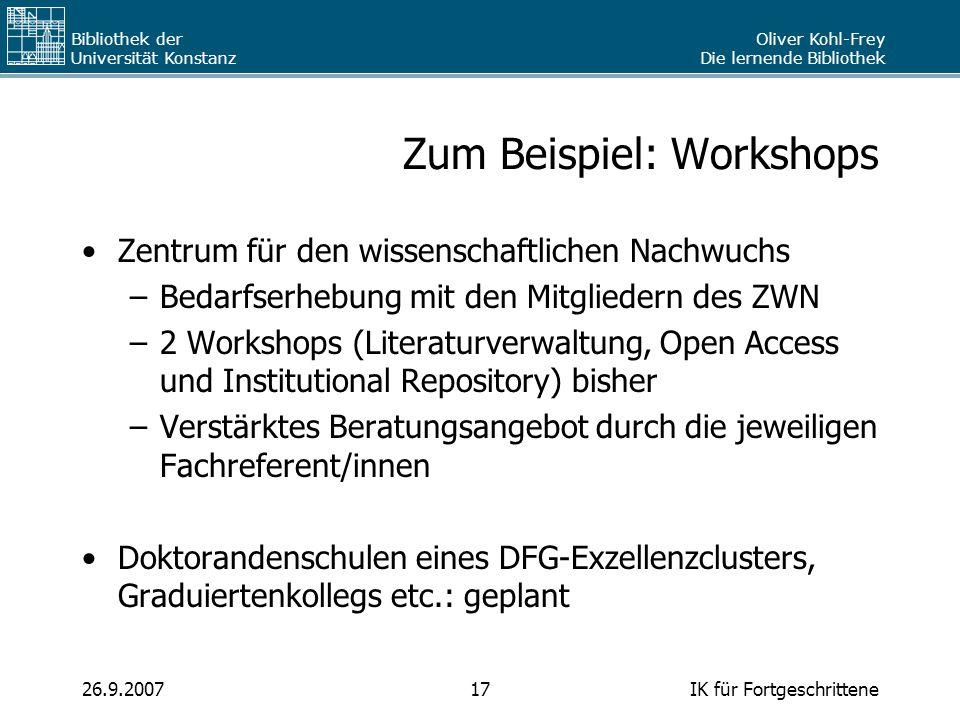 Zum Beispiel: Workshops
