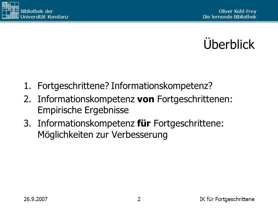 Überblick Fortgeschrittene Informationskompetenz