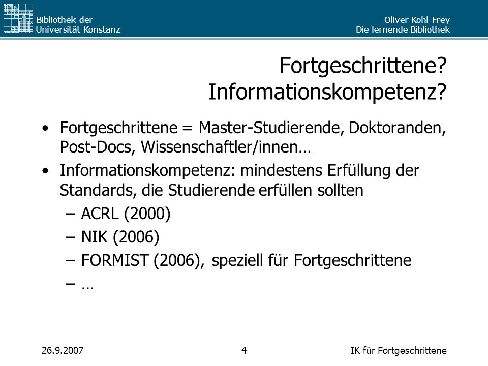 Fortgeschrittene Informationskompetenz