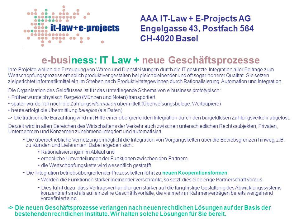 e-business: IT Law + neue Geschäftsprozesse