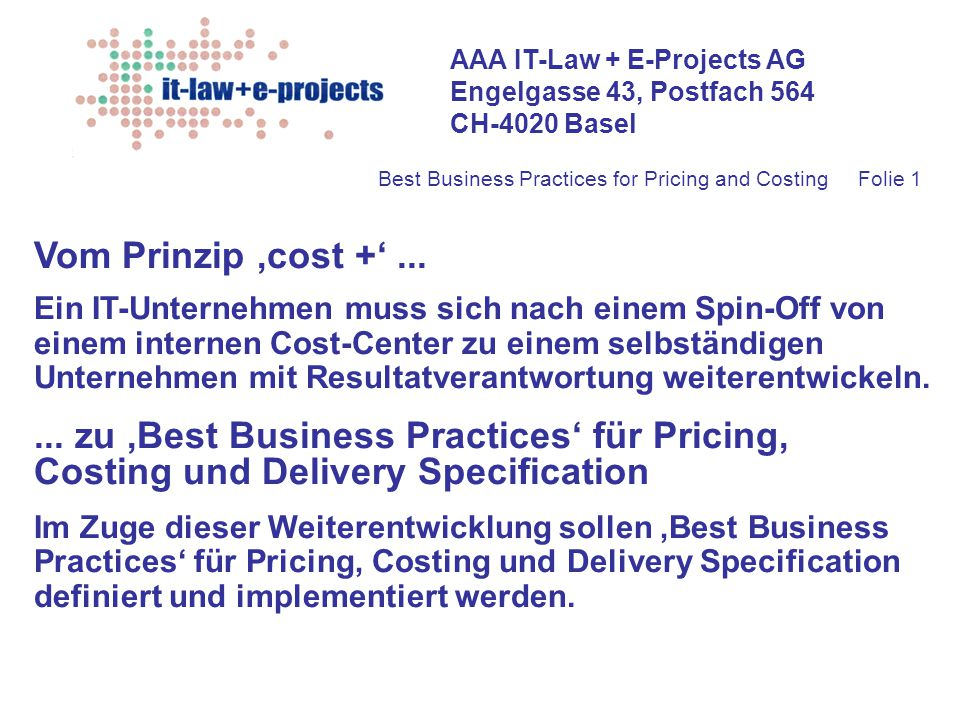 Best Business Practices for Pricing and Costing Folie 1