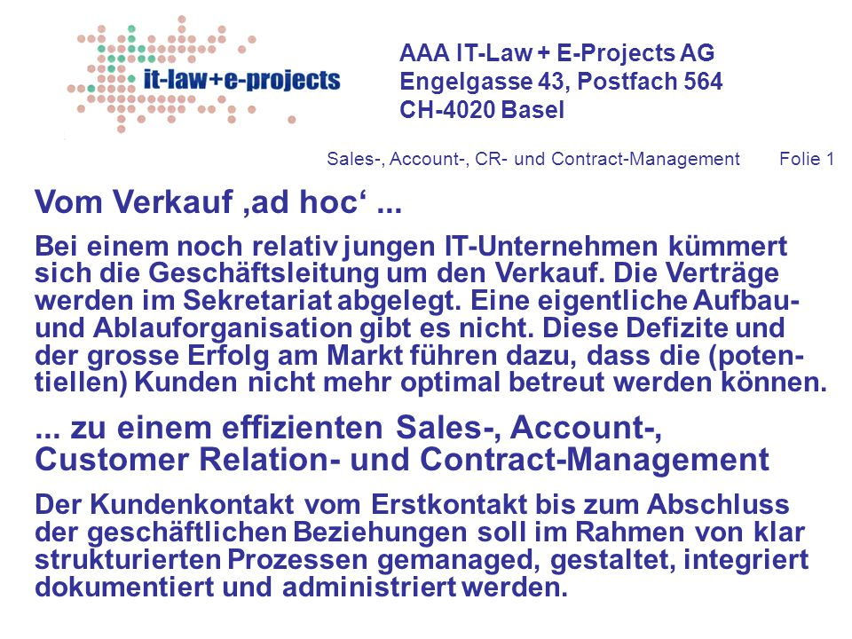 Sales-, Account-, CR- und Contract-Management Folie 1