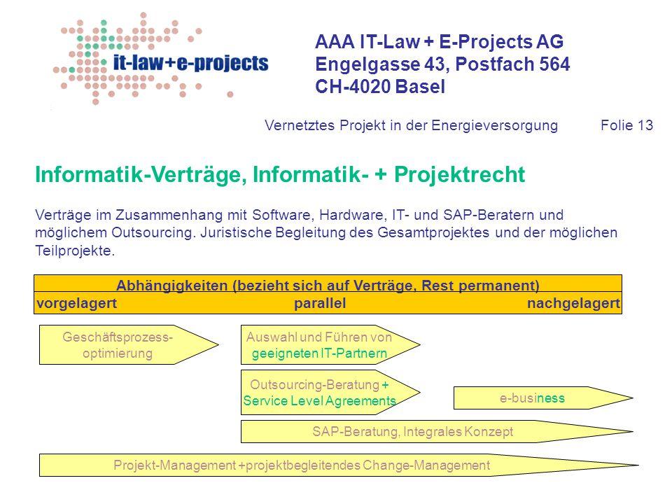 Informatik-Verträge, Informatik- + Projektrecht